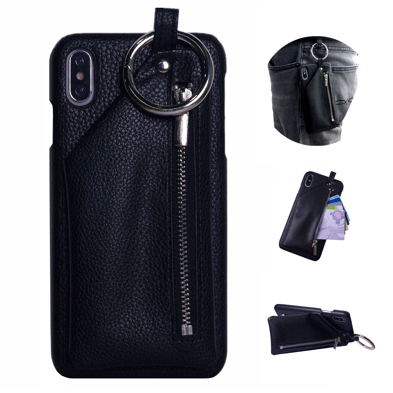 Pour iPhone 11 Pro Max étui portefeuille Xs Max Xr X 10 8 7 6 6s Plus cuir couverture boucle anneau pour AirPod fermeture éclair poche porte-carte