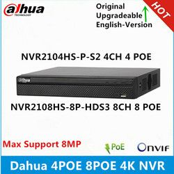 Dahua 4K NVR2104HS-P-S2 4CH 4Poe NVR2108HS-8P-HDS3 8CH  8 Poe Ports 1U Network Video Recorder max support 8MP resolution