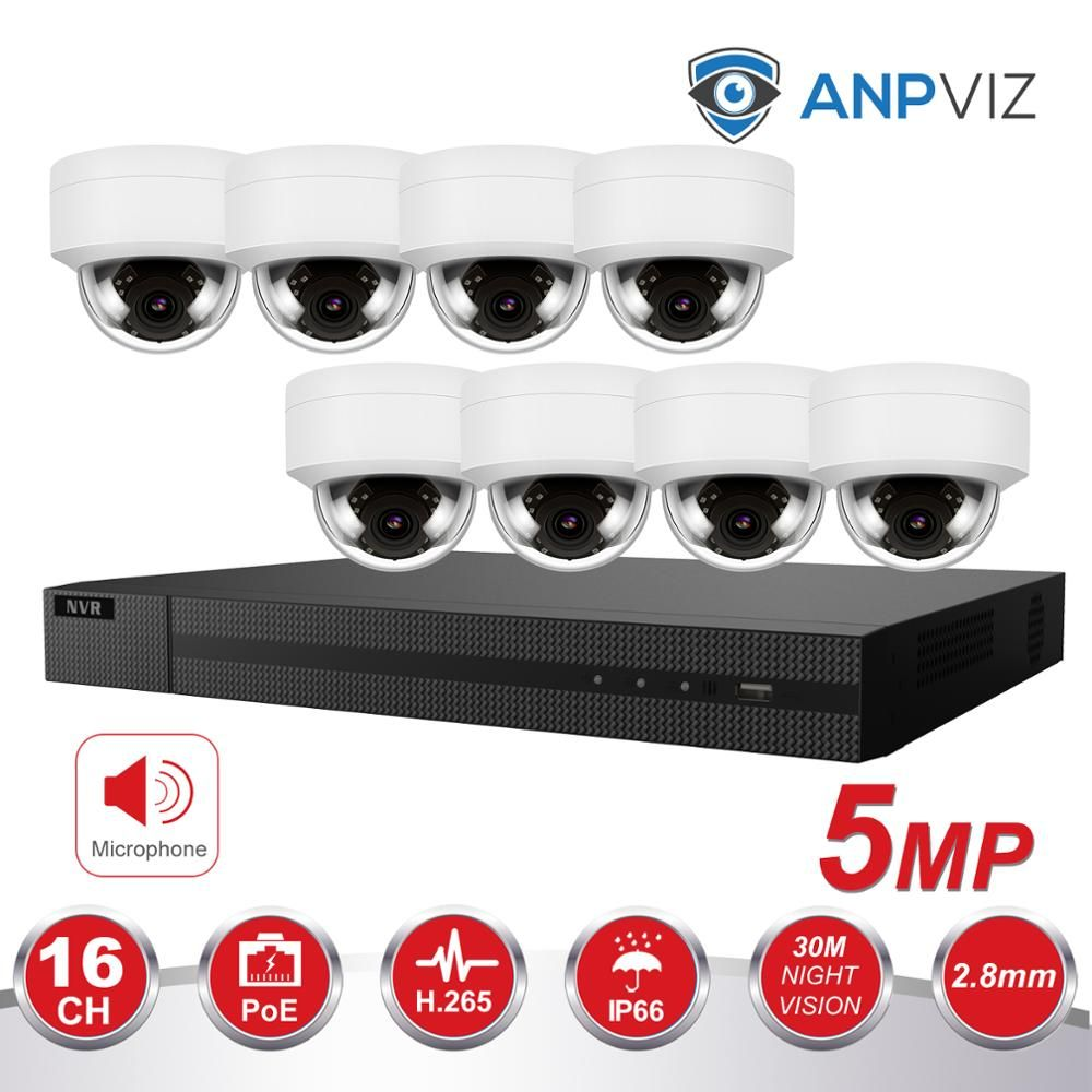 Ultra H.265 4K 16CH NVR KIT 8/10/12/16 stücke 5MP PoE Dome Kamera Vari -fokus Objektiv Hikvision Überwachung System NVR-216MH-C/16 P OEM