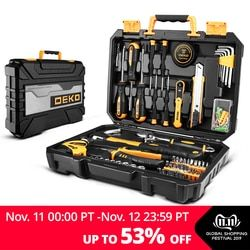 DEKO DKMT100 Socket Wrench Tool Set Auto Repair Mixed Tool Combination Package Hand Tool Kit with Plastic Toolbox Storage Case