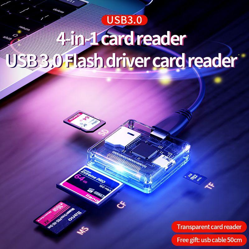 4-in-1 Multi USB 3.0 smart card reader flash multi-memory card reader for USB3.0/SD/TF/MS/CF card reading micor SD flash card