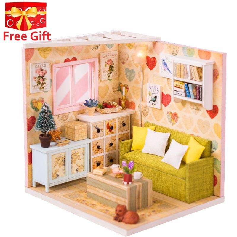 Nouveau 3D maison de poupée en bois Villa meubles bricolage Miniature modèle lumière LED 3D maison de poupée en bois cadeaux de noël jouets pour enfants