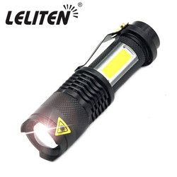 Mini Portable Working lamp XPE+COB LED Flashlight ZOOM Torch USB Charge +1* Built in 14500 Battery