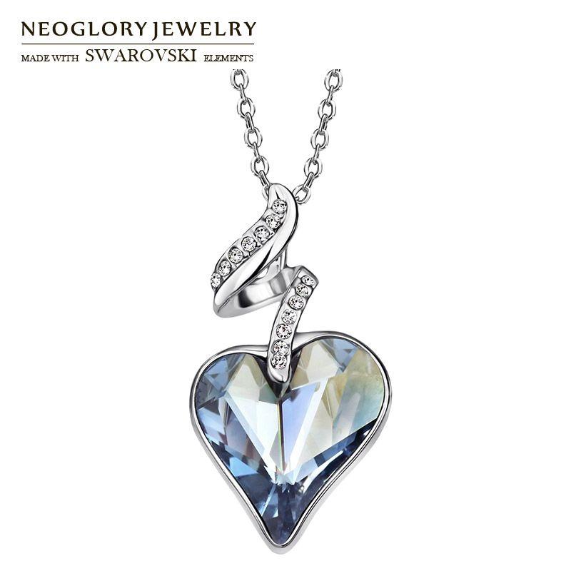 Neoglory autriche cristal et strass tchèque amour coeur pendentif à breloque Long collier élégant romantique vacances saint valentin cadeau