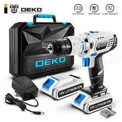 DEKO GCD18DU3 Electric Screwdriver Cordless Drill Impact Drill Power Driver 18-Volt DC Lithium-Ion Battery 13mm 50N.m 2-Speed