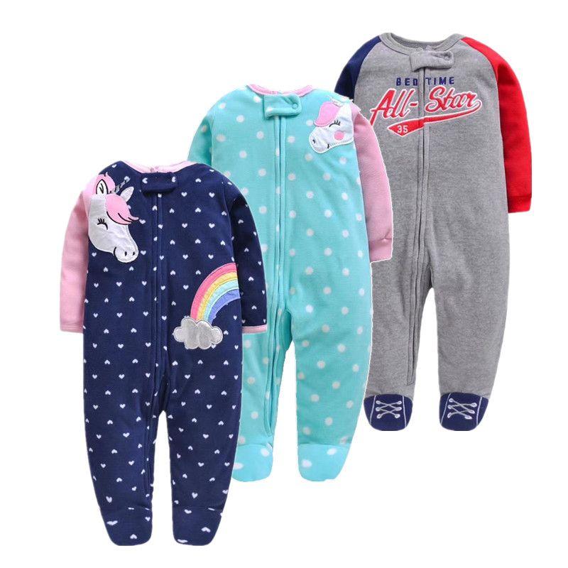 2019 unicornio bébé fille vêtements, doux polaire enfants une pièce barboteuse pijama nouveau-né infantile fille garçons vêtements bébé vêtements