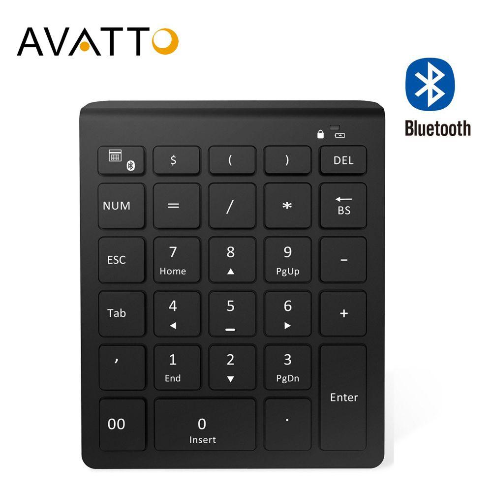 AVATTO 28 touches Bluetooth clavier numérique sans fil Mini pavé numérique avec plus de touches de fonction clavier numérique pour les tâches de comptabilité PC