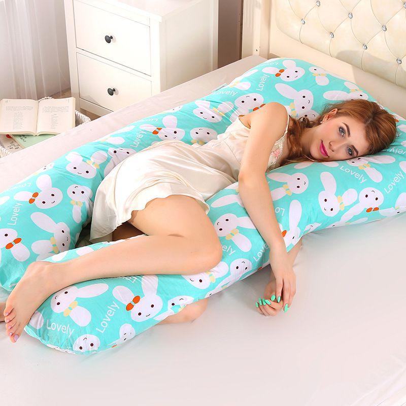 Oreiller de soutien de sommeil pour les femmes enceintes corps PW12 100% coton lapin imprimer U forme maternité oreillers grossesse côté dormeurs