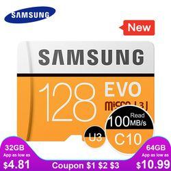 Samsung Kartu Memori Micro SD 32G 64G 128G 256 Kartu MicroSD SDHC SDXC Max 95Ms EVO 32GB 64GB C10 TF Trans Flash Kartu Micro