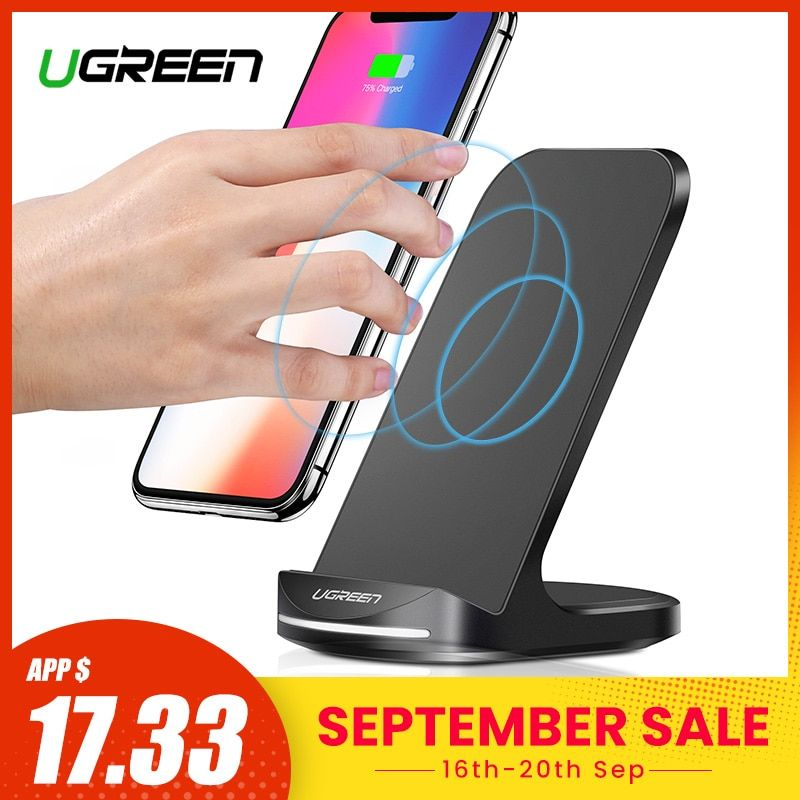 Ugreen Qi Wireless Charger Stand for iPhone 11 Pro X XS 8 XR Samsung S9 S10 S8 S10E Fast Wireless Charging Station Phone Charger