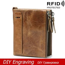 DIY Engraving Genuine Leather Men Wallets Credit Card Holders Wallet Double Zipper Cowhide Leather Male Coin Wallet Short Purse
