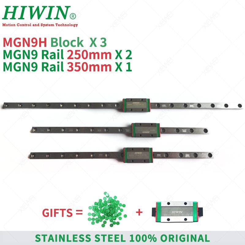 Livraison gratuite HIWIN acier inoxydable MGN9 250mm 350mm rail de guidage linéaire avec MGN9H glisser blocs chariots pour imprimante kit 3d