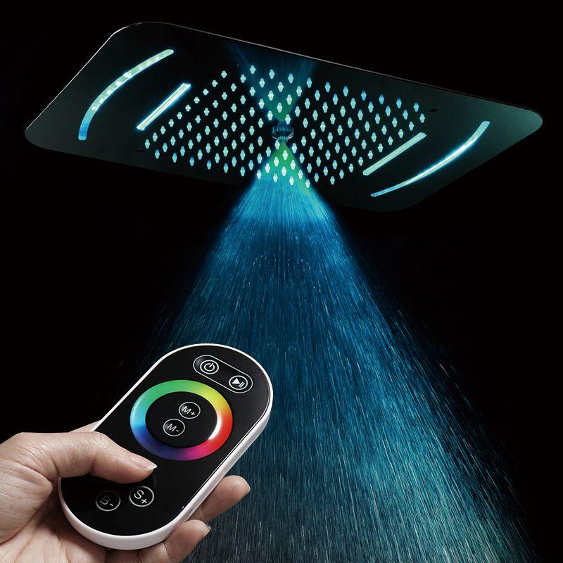 Embedded Decke Montiert Dusche Kopf LED Licht Massage Misty Showerhead 580*380mm Bad Dusche Regen Wasserfall Duschen SUS