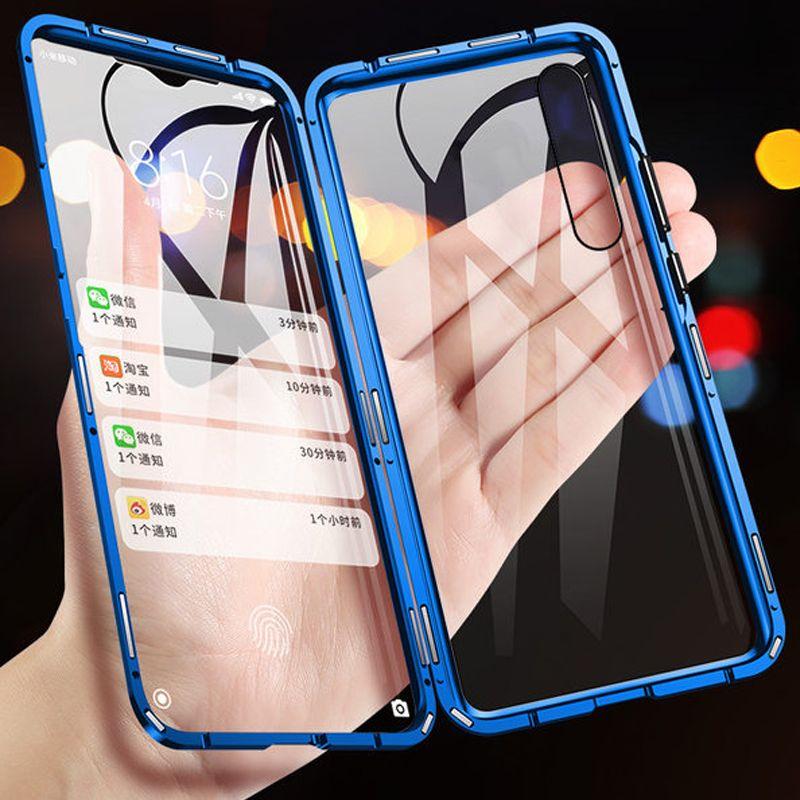 360 étui pour samsung magnétique en métal de Protection complète Galaxy A50 A30 A70 A7 A9 S10 Plus Note 10 couvercle en verre trempé Double face