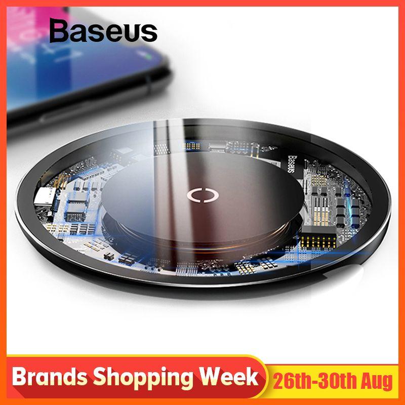 Chargeur sans fil Qi Baseus 10W pour iPhone X/XS Max XR 8 Plus élément Visible chargeur sans fil pour Samsung S9 S10 + Note 9 10