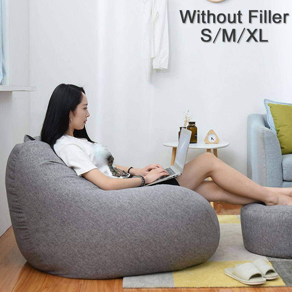 Grandes petites chaises de couverture de canapés paresseux sans remplissage chaise longue en tissu de lin siège Pouf Pouf Pouf canapé Tatami salon