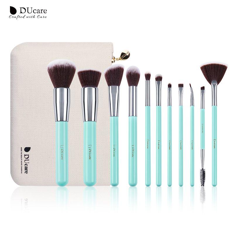 DUcare maquillage brosses 11 pièces pinceaux professionnels vert clair brosse ensemble de haute qualité brosse avec sac portable maquillage brosses