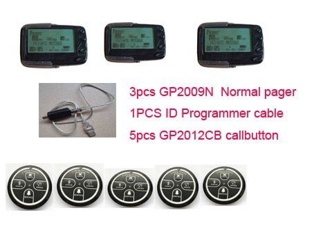 Freies verschiffen! 3 stücke empfänger, 1 stücke ID programmierer und 5 stücke callbutton pocsag paging-system, wireless aufruf system