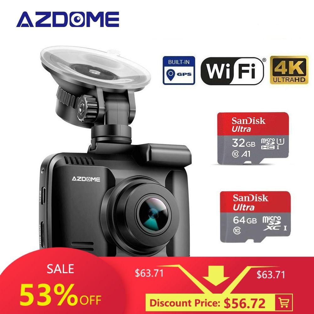 Original AZDOME GS63H 4 Karat Dash Cam Eingebaute GPS WIFI Auto Kamera Mit Echt Kamera Dvr WDR Nachtsicht Dashcam 24 H Parkplatz Monitor
