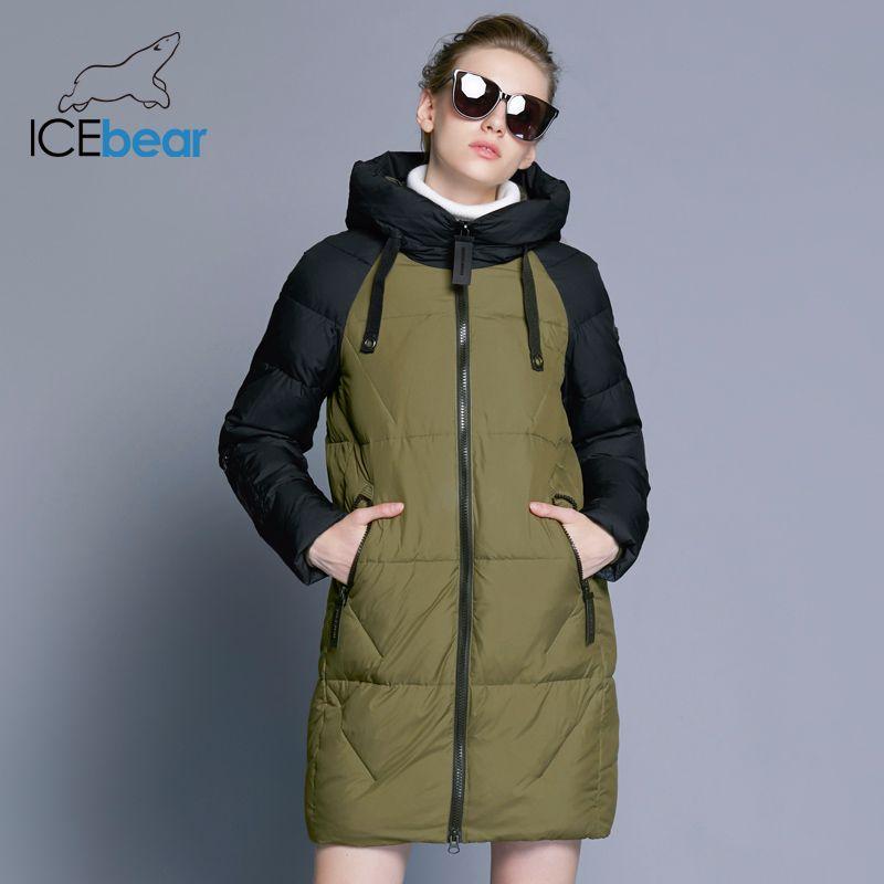 ICEbear 2018 New Women Winter Jacket Hooded Jacket Women Contrast New Women's Cotton 17G637D