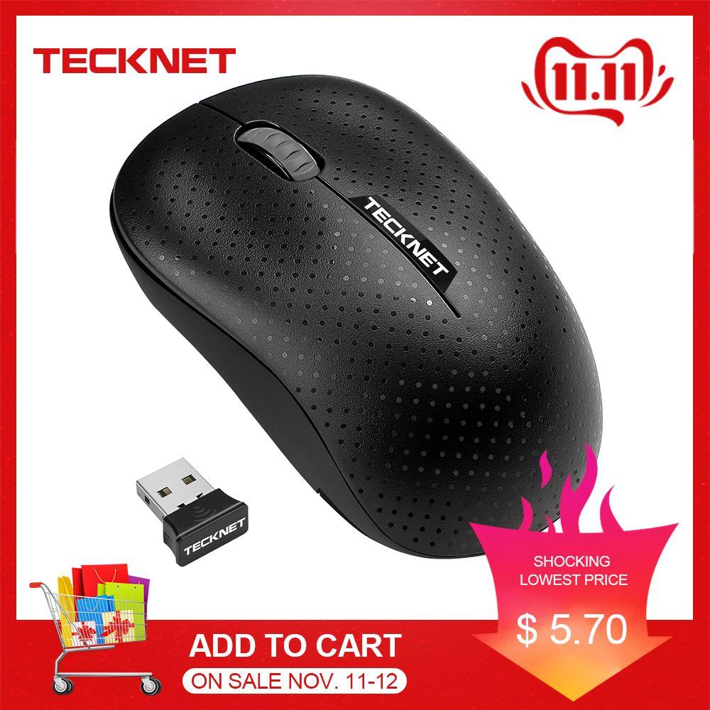 TECKNET Original Mini souris sans fil optique 2.4G fiable 1000DPI souris Nano USB récepteur souris pour ordinateur portable de bureau