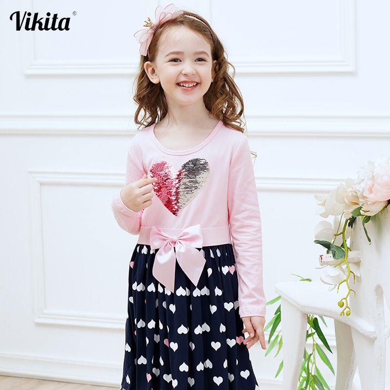 VIKITA filles robe en coton à manches longues enfants Patchwork robes enfant pour filles vêtements bambins dessin animé robe de princesse