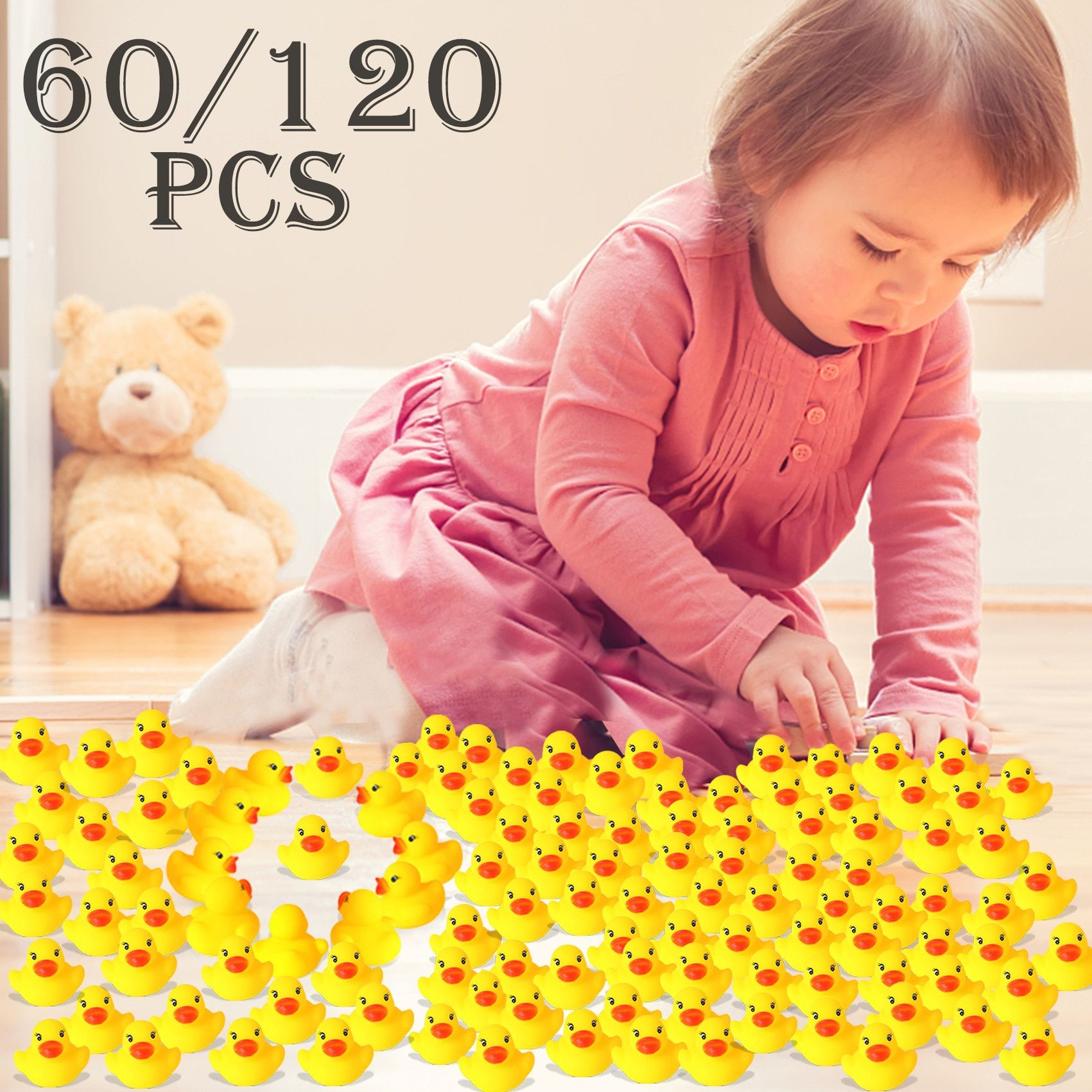 60pcs/120pcs  Mini Yellow Rubber Ducks Bath Toy  Baby Shower Water toys Pure Natural Cute Rubber Ducky for Baby Kinder Toys