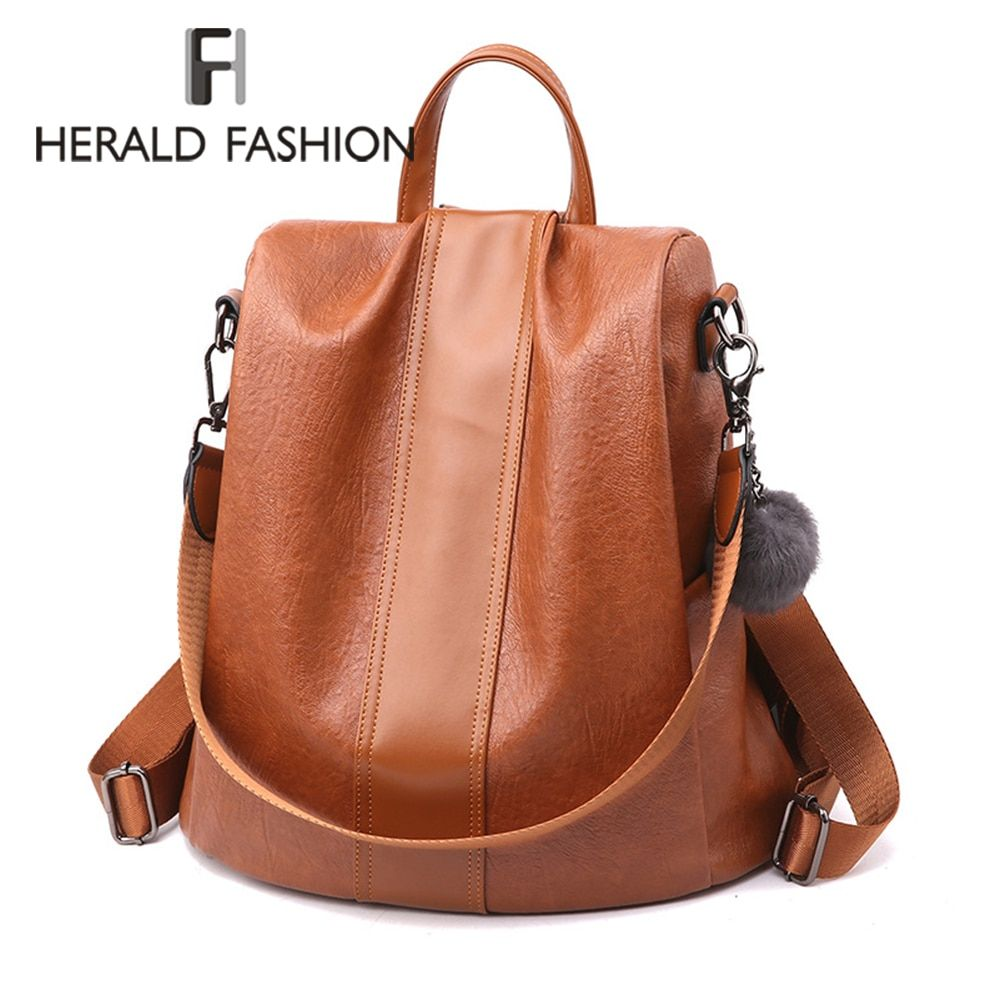 HERALD FASHION Quality Leather Anti-thief Women Backpack Large Capacity Hair Ball School Bag for Teenager girls Male Travel Bags