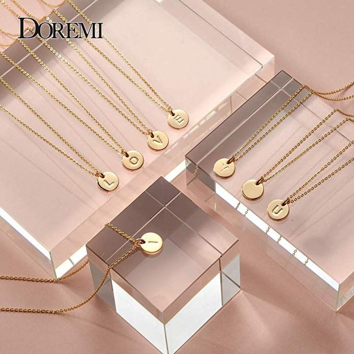 DOREMI 12 mm Gold Initial Necklace Custom Name Necklace Personalized Drop Disc Pendants Necklaces Beauty Mother Gifts A-Z