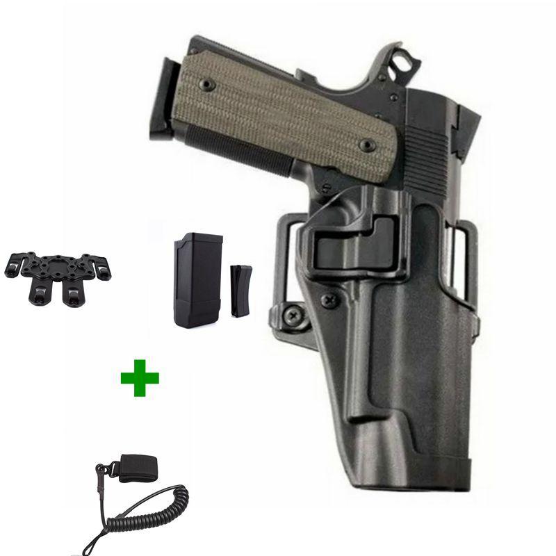 Étui de pistolet Airsoft tactique à tirage rapide étui de ceinture à main droite militaire étui de transport pour pistolet Colt 1911