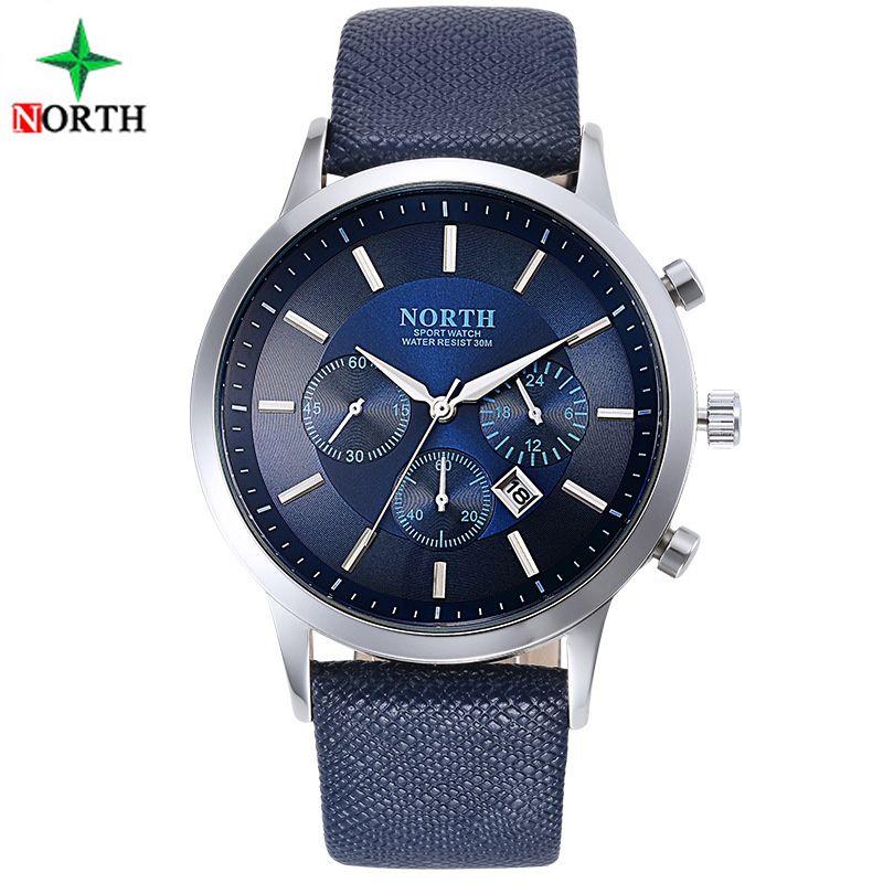 Nord luxe hommes montres étanche en cuir véritable mode décontracté montre-bracelet homme affaires Sport horloge classique bleu argent 6009