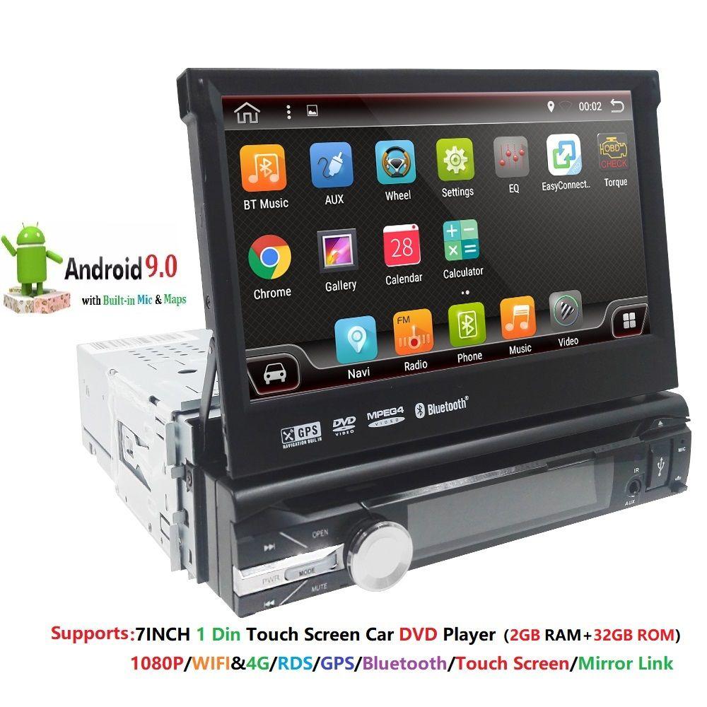 2G RAM 1 Din Android 9 Quad 4 Core lecteur DVD de voiture pour Navigation GPS universelle stéréo Radio WIFI 4G Audio USB SWC volant