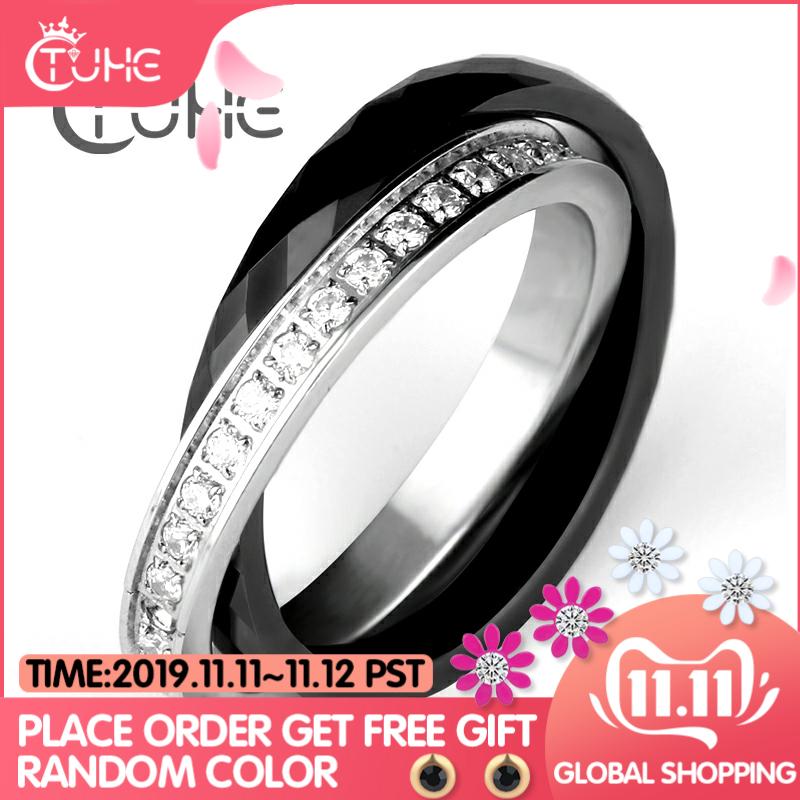 Bagues femmes en céramique acier inoxydable anneaux Double deux croix anneaux cristal CZ bijou ceramique anillo acero inoxydable