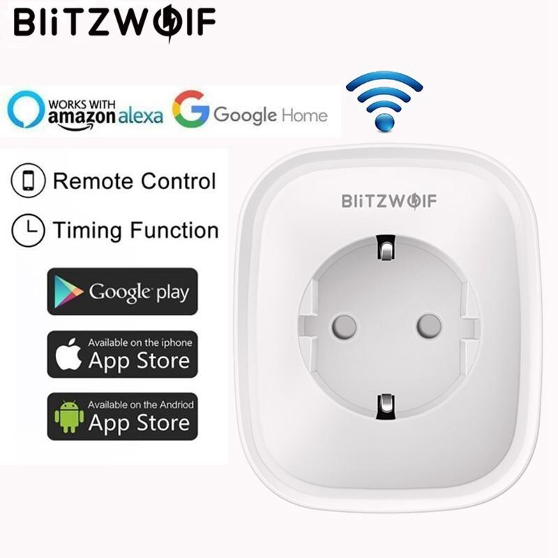 BlitzWolf BW-SHP2 WIFI Smart Socket EU Plug 220V 16A Remote Control Smart Timing Switch Work For Amazon Alexa/Google Assistant