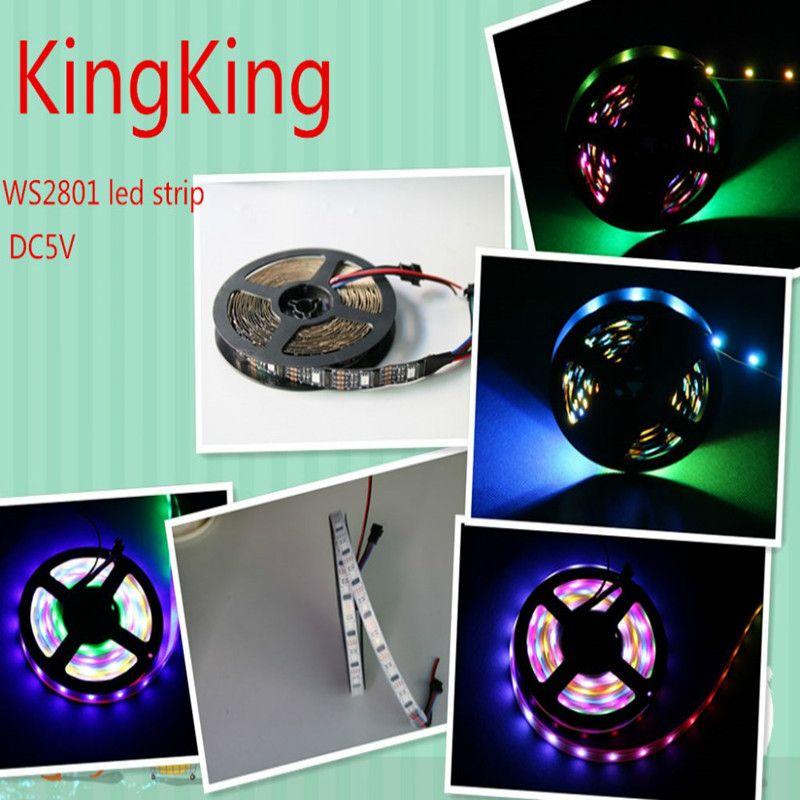 5M WS2801 5050 RGB Dream bande LED couleur adressable individuellement DC5V ws2801 ic 32 pixel/m IP67 noir/blanc pcb
