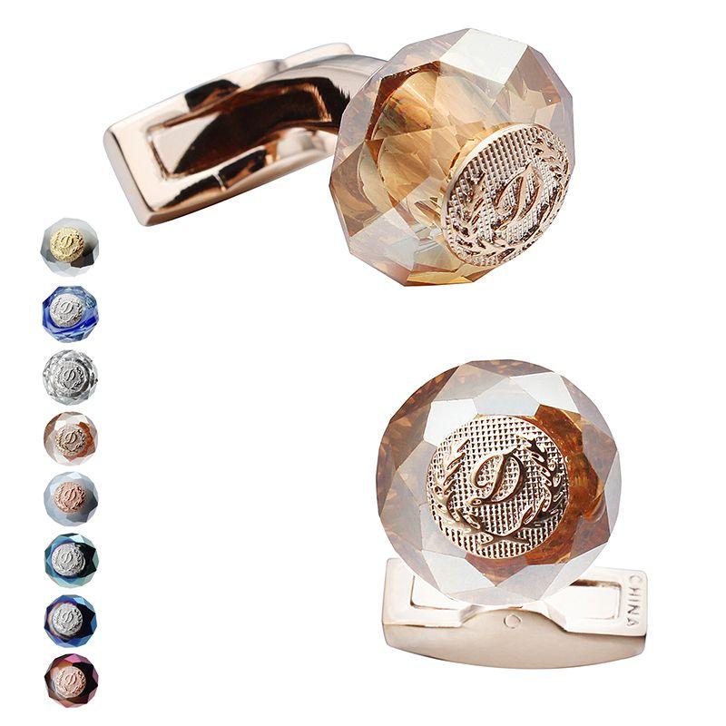 HAWSON luxe lettre D boutons de manchette 6 couleurs Options pierre boutons de manchette couleur or Rose hommes mode bijoux cadeaux pour cérémonie