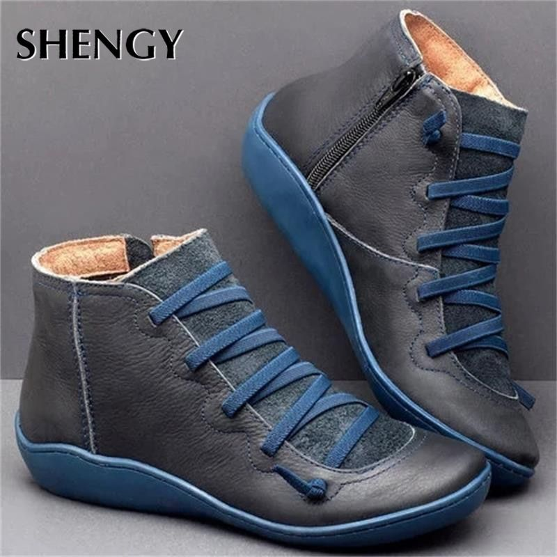 New Leather Ankle Boots Autumn Vintage Lace Up Women Shoes Comfortable Flat Heel Boots Female Zipper Short Boots Dropshipping