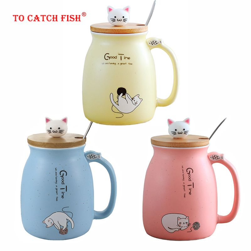 Créatif couleur chat résistant à la chaleur Tasse de dessin animé avec couvercle 450ml tasse chaton café tasses en céramique enfants tasse bureau Drinkware cadeau