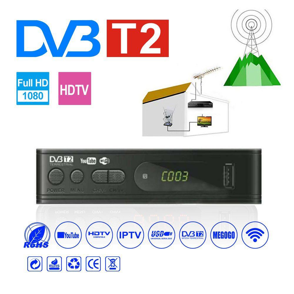 HDMI Satellite Tv Receiver Tuner Dvb T2 Wifi Usb2.0 Full-HD 1080P Dvb-t2 Tuner TV Box Dvbt2 Built-in Russian Manual With Antenna