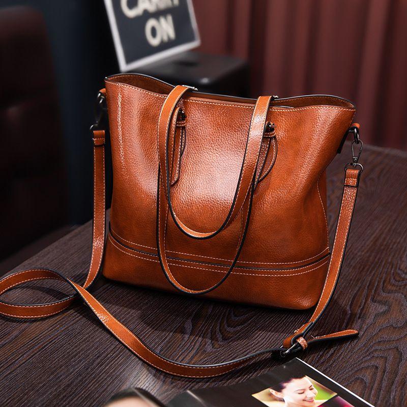 Echtes Leder Tasche Handtasche Frauen Hohe Kapazität Frau Tote Retro Einfache Stil Frauen Elegante Tote Tasche Klassische Shopper 2019 C1005