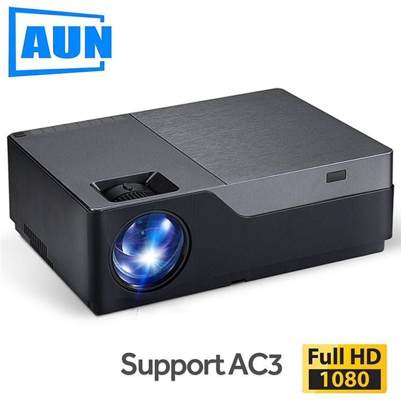 AUN Full HD Projektor M18UP, 1920x1080 P, Android 6.0 WIFI Video Beamer, LED Projektor für 4K Hause Kino (Optional M18 AC3)