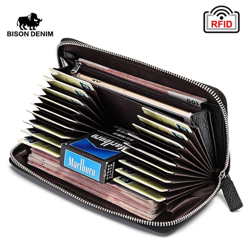 BISON DENIM 100% portefeuille d'embrayage en cuir de vache pour hommes RFID bloquant portefeuille porte-cartes porte-monnaie Long téléphone portefeuille W8226-2