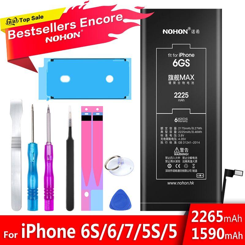 Batterie au Lithium NOHON pour Apple iPhone 6S 6 7 5S 5 Batteries de rechange batterie de téléphone interne 2060mAh 2265mAh + outils gratuits