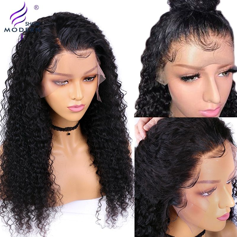 Moderne spectacle 13*4 brésilien bouclés cheveux humains perruque Remy dentelle perruque pré plumé sans colle 150% densité frontale perruques pour les femmes noires