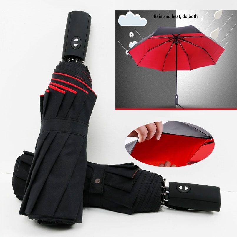 NX Automatique Parapluie Pluie Femmes trois parapluie pliant Anti-UV Double couche coupe-vent soleil femmes parapluies corporation
