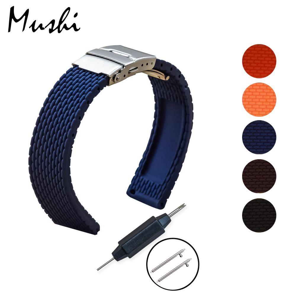 MS Silicone Bracelet Plongeur Montre Bande En Caoutchouc Montre Bracelet avec Déploiement Bracelet Boucle Fermoir 18mm 20mm 22mm 24mm Montre Bracelet