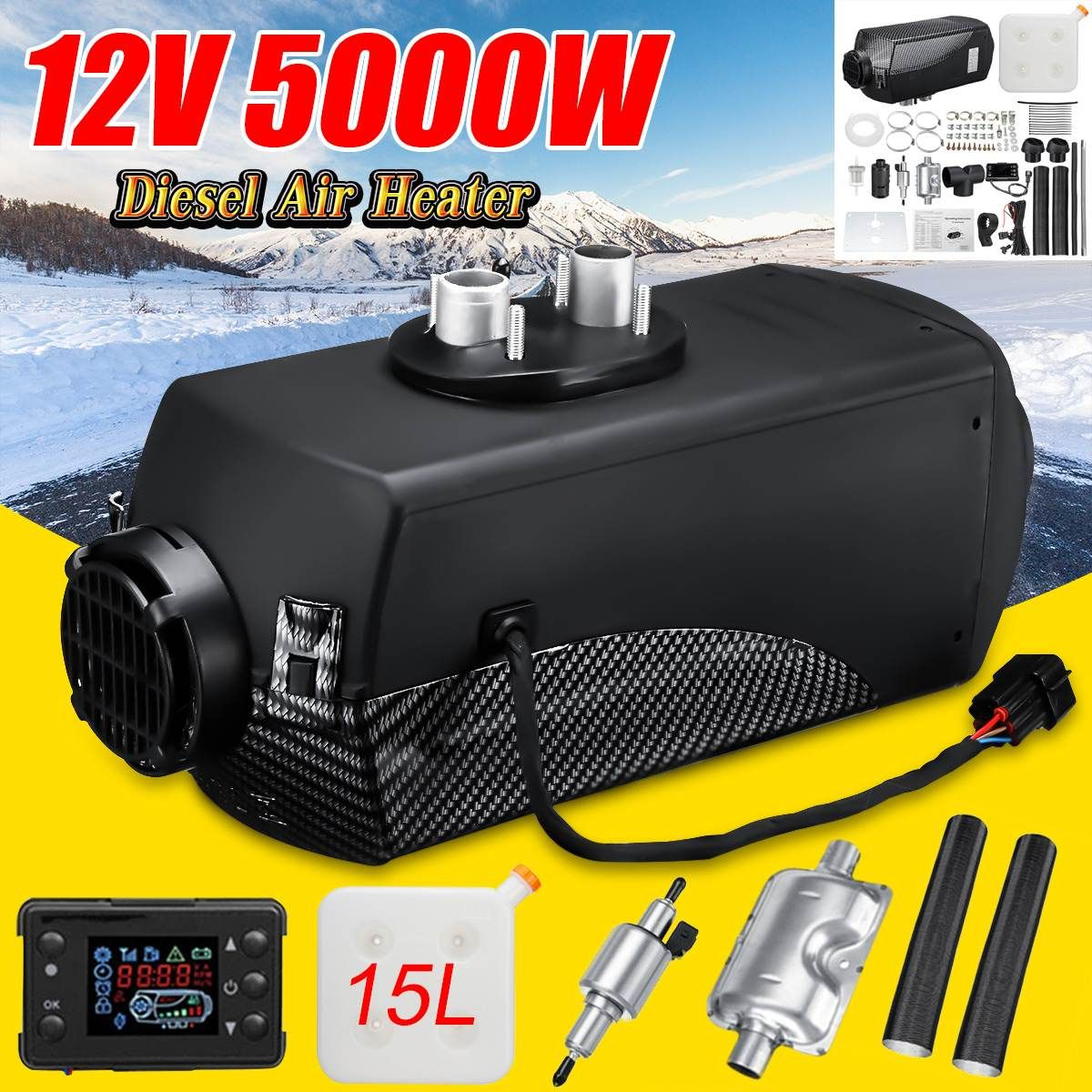 Audew 12V 5KW Car Heater Diesels Air Parking Heater LCD Monitor Switch + 15L Tank&Silencer for Trucks Bus Trailer Motorhome