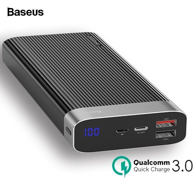 Baseus 20000 mah Quick Charge 3,0 Power Bank Led-anzeige Dual USB Typ C PD Schnelle Lade Externe Batterie Pack ladegerät Power