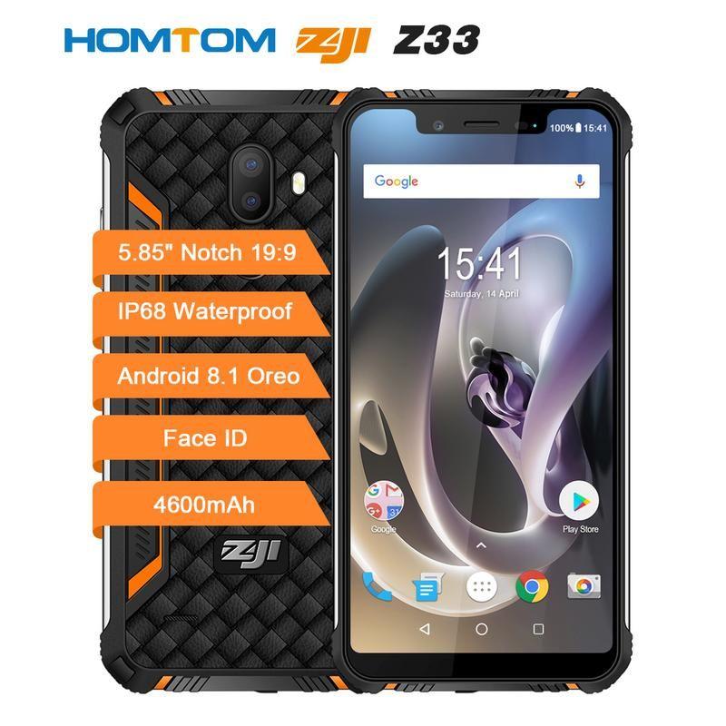HOMTOM ZOJI Z33 4600mAh 3GB 32GB Android 8.1 Face ID IP68 Waterproof Rugged Mobile Phone 5.85inch Notch HD+ OTG 4G Smartphone