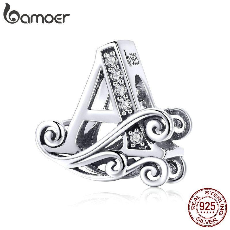 BAMOER Heißer Verkauf 925 Sterling Silber Alphabet Brief EINE Perlen Fit Charme Armbänder Halsketten DIY Zubehör Schmuck BSC030-A